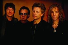 Desde la izquierda: Richie Sambora, Tico Torres, Jon Bon Jovi y Dave Bryan; el cuarteto de Nueva Jersey en pleno