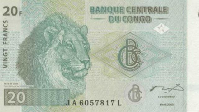 Un león ilustra el billete de 20 francos, en Congo
