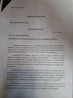 La carta que recibió Jorge Faurie del gobierno de Irán