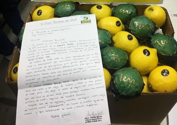 La carta y los limones que la productora le mandó a Macri