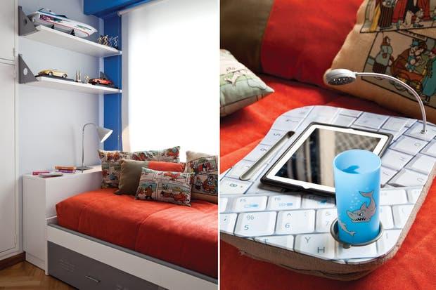 La cama cuenta con un carro auxiliar para un eventual segundo colchón y una cabecera con una parte fija que hace de mesa de luz (Dash). Detalle del escritorio portátil con lámpara led, posa-vasos y almohadón debajo (Magneto)..