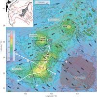Zona en la que se encontró el volcán en el Pacífico