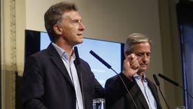 Mauricio Macri y Andrés Ibarra, durante una conferencia en la Casa Rosada