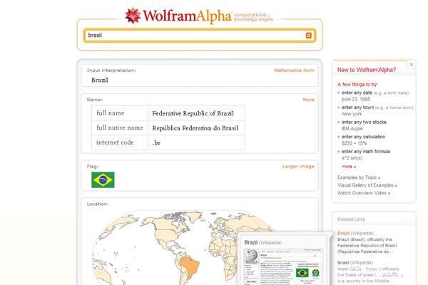 El resultado de Wolfram Alpha se presenta como un informe con diversos datos geográficos, económicos, demográficos junto a gráficos y enlaces de la web relacionados