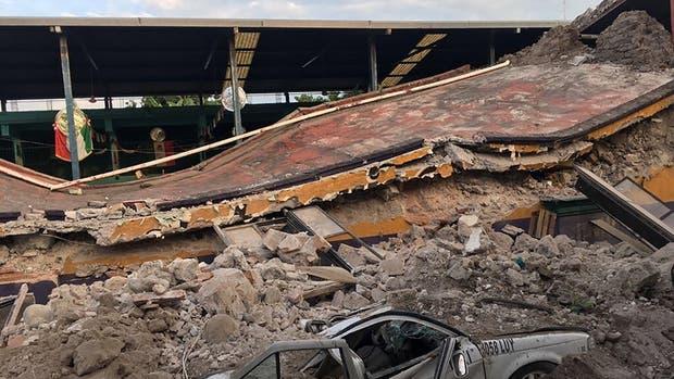 Un edificio destruido en Jojutla, uno de los departamentos más castigados por el terremoto