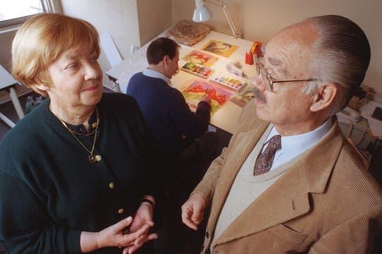 Junto a García Ferré durante el proyecto de la película Manuelita, 22 julio de 1998. Foto: Archivo