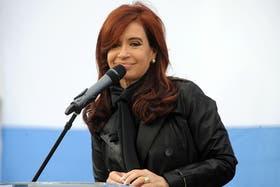 Cristina durante su discurso de ianuguración de la Universidad Nacional del Oeste