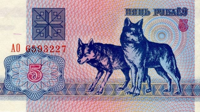El billete de 5 rublos bielorrusos, con dos lobos