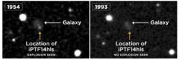 Los investigadores descubrieron que una explosión similar había sido registrada en exactamente en el mismo sitio de la esfera celeste en 1954.