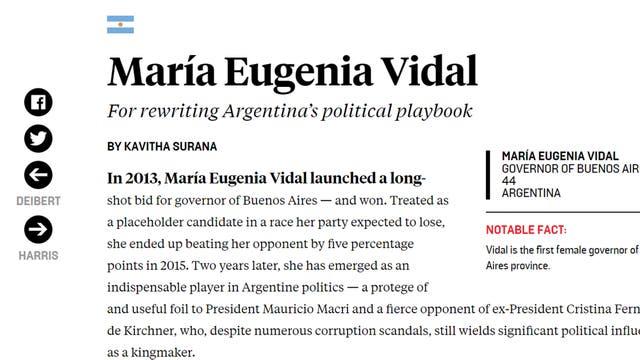 La página web de la publicación donde se anuncia a Vidal como una de las pensadoras globales de la prestigiosa FP