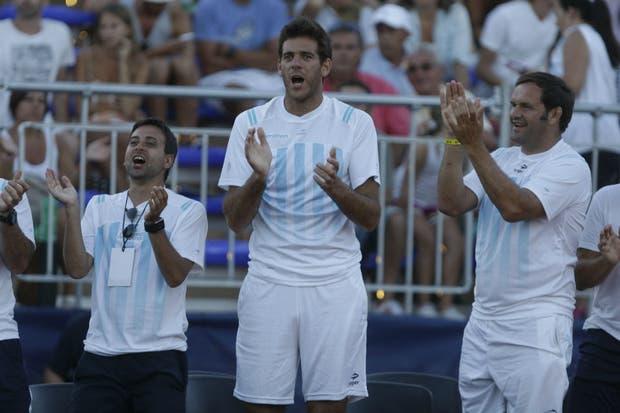 Del Potro, en el encuentro de Mayer vs. Souza en el duelo de la última Copa Davis ante Brasil