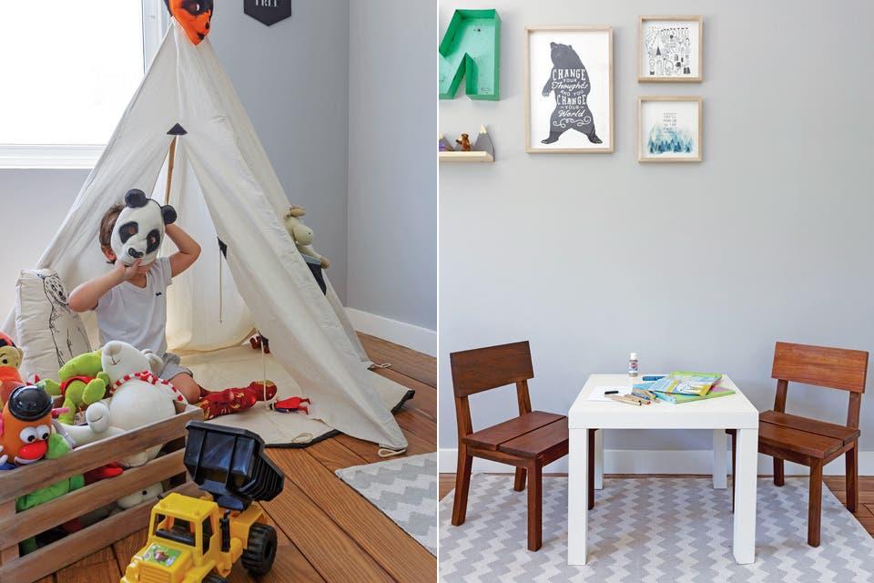 Carpa de juego plegable en lienzo grueso (My Tipi Argentina) y almohadón 'Oso' de lona (Dod Kids). La mesita (Ikea) y un dúo de sillas bajas de lapacho (Fernando Moy) se ubicaron sobre una alfombra con motivo chevron (Urban Outfitters).  Foto:Living /Daniel Karp