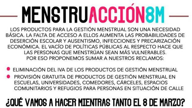 """Proponen entregar gratuitamente productos para el """"manejo de la gestión menstrual"""""""