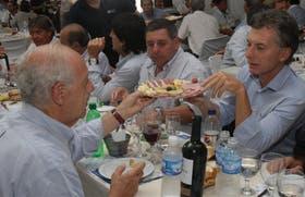 Lavagna, Macri y De Angeli, durante el almuerzo en Expoagro