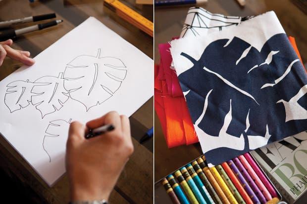 Los diseños de Nippon Deco suelen nacer cuando Pablo despliega sus lápices sobre la mesa del living junto a una de sus piezas favoritas: el cuaderno de dibujo con la ilustración de la catedral de San Basilio, que se trajo de un viaje a Moscú.  /Javier Picerno