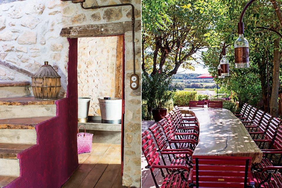Además del castillo y las casas lindantes, el complejo incluye tres restaurantes. El Nomad Kitchen cuenta con una enorme mesa, obra de la diseñadora italiana Marzia Chiarichetti .  /Eugenia Daneri