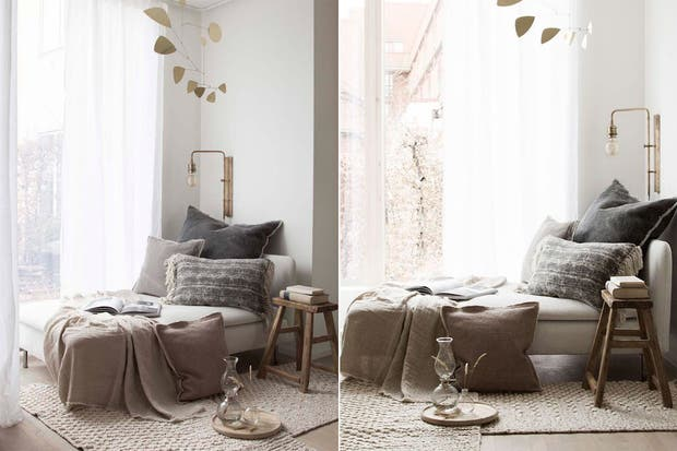 Un cómodo Chaise Longue estilo nórdico con almohadones en gris, rosa viejo y crema. ¿El detalle? La lámpara de aceite para generar un ambiente especial.  /Bloglovin.com
