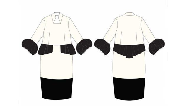 La marca argentina reveló que el traje iba a ser totalmente distinto: en color crudo y negro, con flores bordadas, mangas largas y volados