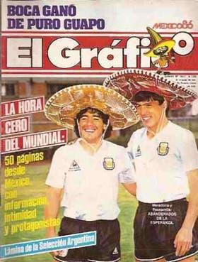 Histórica tapa de la revista El Gráfico horas antes del debut en el Mundial; las sonrisas fueron para la cámara, Maradona y Passarella ya no se hablaban