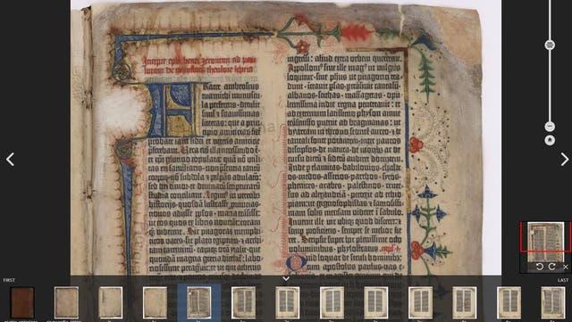 Primera página de la Biblia en 42 líneas impresa por Gutenberg en 1455