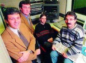 De izquierda a derecha, Gustavo Fayard (vicepresidente), Juan Cancellieri (jefe de operaciones), Damián Molinari (proyectos) y Gustavo Pesci (presidente), de Hardata