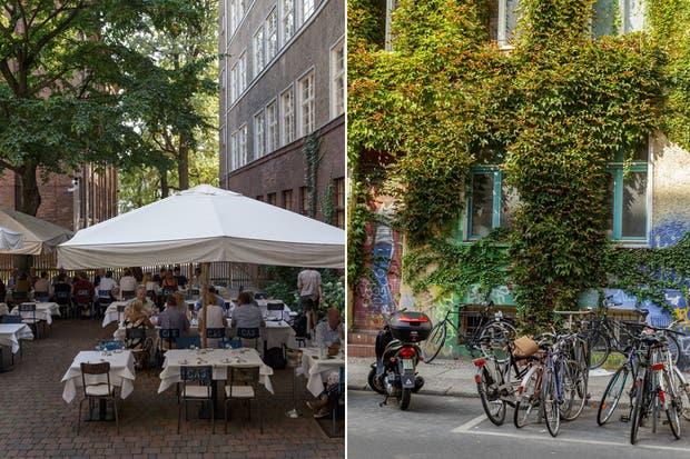 Comer en la terraza del restaurant Pauly Saal, que pasa desapercibido dentro de una antigua escuela de niñas judías. La comunidad la recicló como espacio de arte viviente antes que monumento.  Foto:Living /Daniel Karp