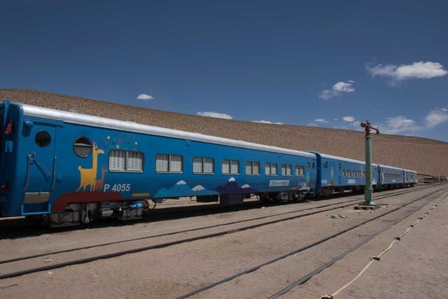 La formación ploteada del Tren a las Nubes en la estación de San Antonio de los Cobres. Foto: Soledad Gil