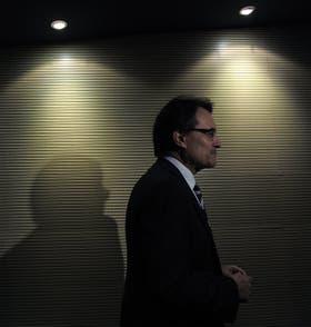 El presidente catalán, Artur Mas, al término de una conferencia de prensa, ayer, en Barcelona