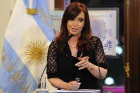 La Presidenta, ayer, en un acto en Casa Rosada