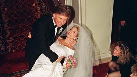 La boda de Trump y Maples ,1993, en el ostentoso Hotel Plaza de Nueva York foto: AFP