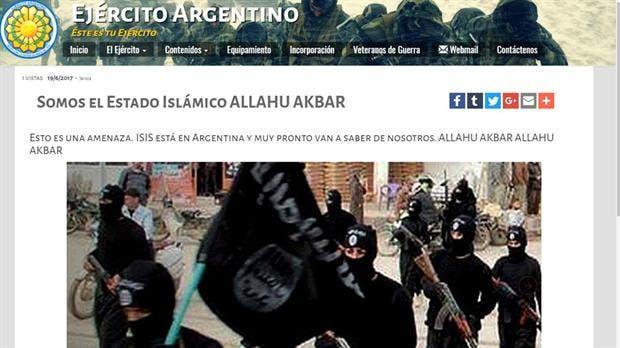 Captura de la web del Ejército después del hackeo
