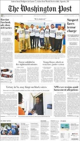 """The Washington Post - Tituló con la frase: """"Estamos destrozados"""", dicha por una hija de Alejandro Pagnucco, una de las víctimas del ataque"""