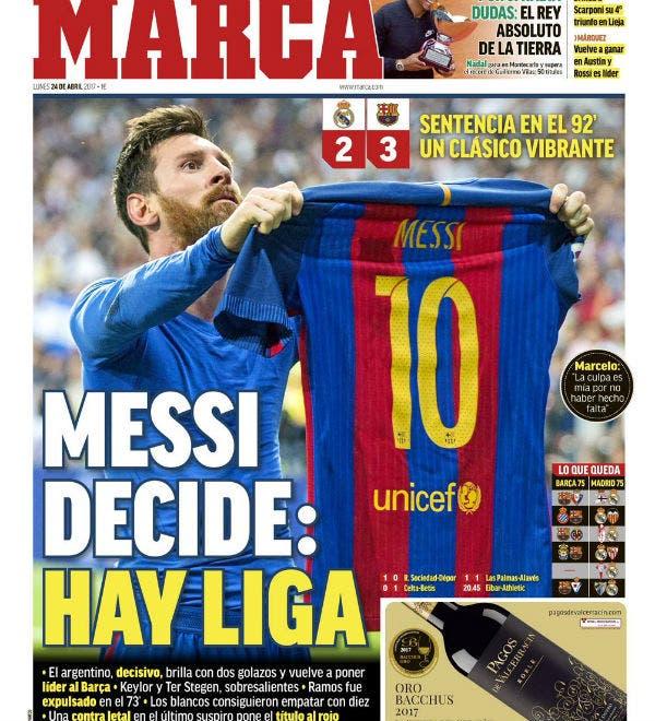 Messi decide: hay liga, la tapa de Marca
