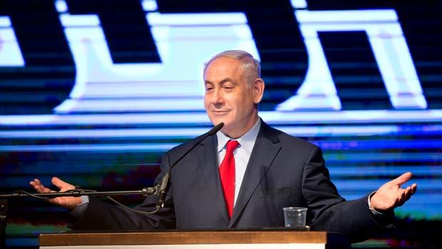 Netanyahu, ayer, durante un acto de su partido, Likud