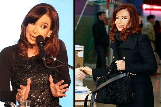 Cristina Fernández con un look elegante y sobrio. Eligió un outfit bordado por la noche. A la mañana, un tapado de cuello ancho y botones dorados. Foto: AP - Reuters