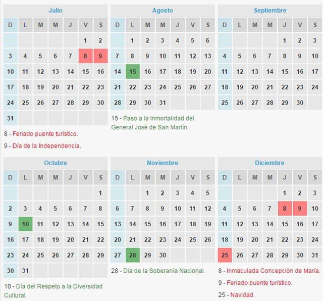 calendario de feriados cu ndo es el pr ximo fin de
