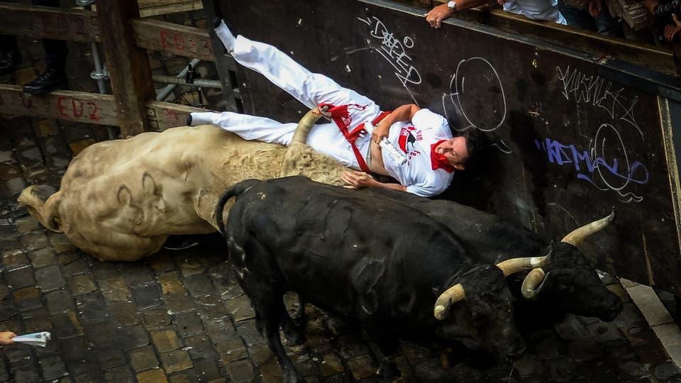 El festival y los encierros de San Fermin, en Pamplona. A primera hora de la mañana cientos de personas corren frente a 6 toros que a la tarde se enfrentan a los toreros en la plaza. Foto: AFP / Ander Gillenea