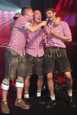 Bastian Schweinsteiger, Arjen Robben y Thomas Mueller se divierten.