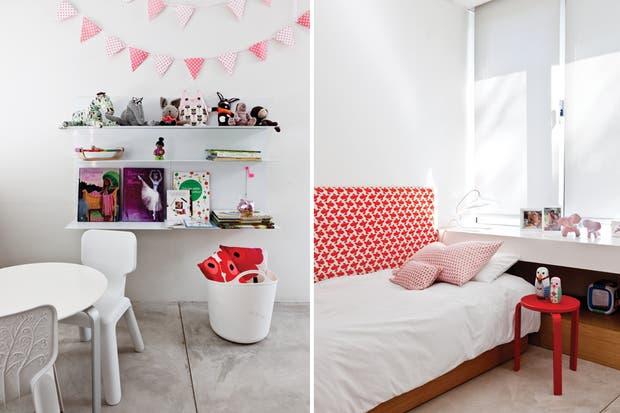 Si bien el cuarto de Ana, la hija de Laila, tiene un marcado tono infantil, se repiten el alisado de cemento, la biblioteca 'Chocolate' (Federico Churba) y los apoyos en Corian debajo de la ventana..