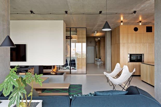 Sofás gris topo, una dupla de sillas BKF, mesa baja de madera y columna central que aloja el televisor y divide parcialmente el living del vestidor contiguo.  /Gentileza Minacciolo