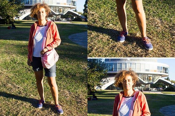 Nada mejor que un buen par de zapatillas de lona para sobrellevar un día de calor ¿Qué te parece el corte de pelo asimétrico?. Foto: Agustina Ferreri