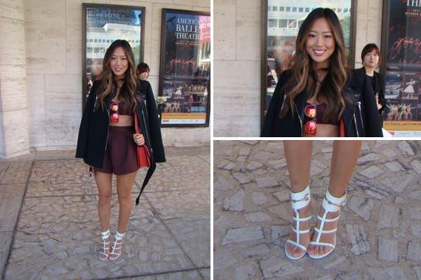 La bloguera Aimee Song, con un conjunto de short y crop top bordó, ¡muy canchera!. Foto: Candelaria Palacios