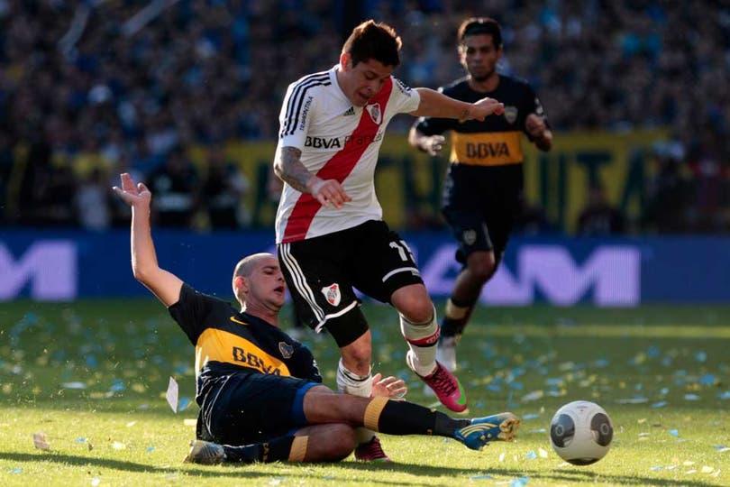 River y Boca empataron 1 a 1 en un superclásico con polémicas y muy entrecortado (foto Aníbal Greco). Foto: LA NACION