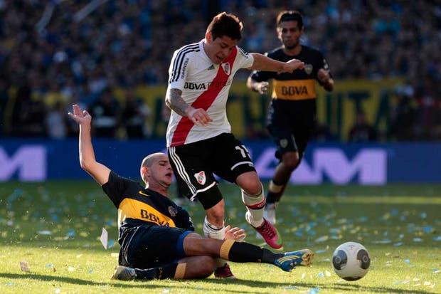 River y Boca empataron 1 a 1 en un superclásico con polémicas y muy entrecortado (foto Aníbal Greco).  Foto:LA NACION