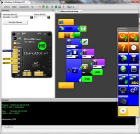 Captura de pantalla de la interfaz de programación visual por bloques de miniBloq