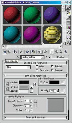 El editor de materiales con una configuración de seis ranuras