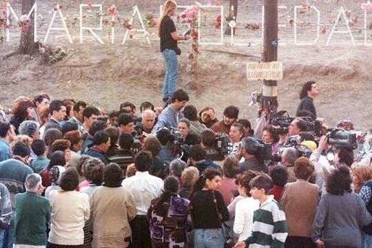 Homenaje en la ruta donde fue hallada sin vida María Soledad en septiembre de 1990. Foto: Archivo