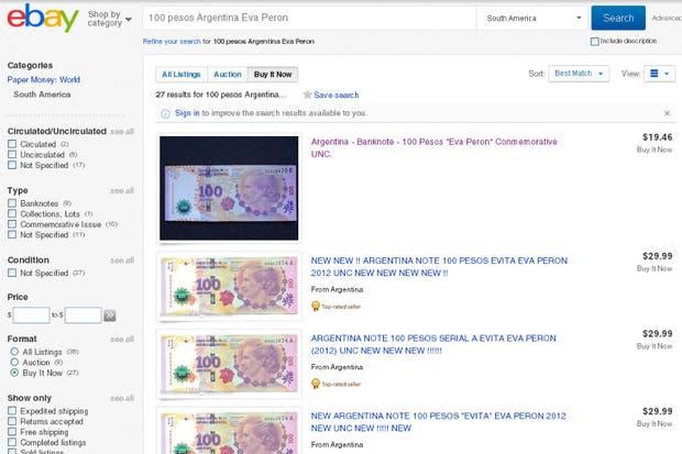 El billete de 100 pesos con la imagen de Evita se consigue en eBay como objeto coleccionable