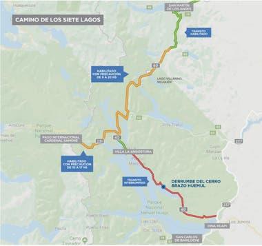 El plano con los lugares de la Ruta 40 donde se presentan los cortes
