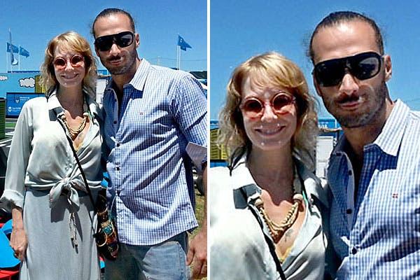 Luciano Cáceres, de jean, camisa a cuadros y anteojos oscuros, y Gloria Carrá, con un look en verde agua, visitaron la Playa Vial en Pinamar. Foto: Agencia Nacional de Seguridad Vial